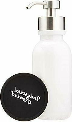 Industrial Rewind White Wide Mouth Glass Soap Dispenser