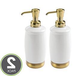mDesign Tall Refillable Ceramic Liquid Hand Soap Dispenser P