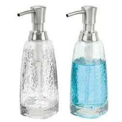 mDesign Modern Glass Refillable Liquid Soap Dispenser Pump B