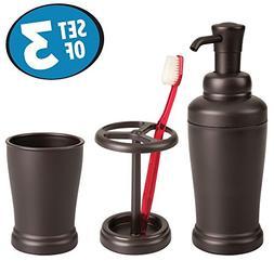 mDesign Liquid Soap Dispenser, Toothbrush Holder and Tumbler