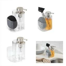 mDesign Liquid Soap Dispenser Pump Bottle Caddy with 2 Stora