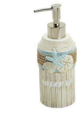 Lotion Soap Dispenser Seashell Nautical Teal Ivory Bathroom