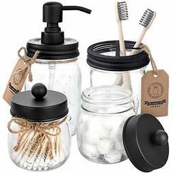 Mason Jar Bathroom Accessories Set 4 Pcs Mason Jar Soap Disp