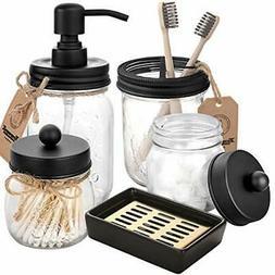 Mason Jar Bathroom Accessories Set 5 Pcs Mason Jar Soap Disp