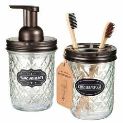 Mason Jar Bathroom Accessories Set -Foaming Hand Soap Dispen