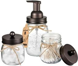 Mason Jar Bathroom Accessories Set - Foaming Hand Soap Dispe