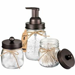 Mason Jar Bathroom Accessories Set - Foaming Hand Soap Dispe