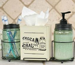 Mason Jar Bathroom Caddy Soap Dispenser, Toothbrush Holder,