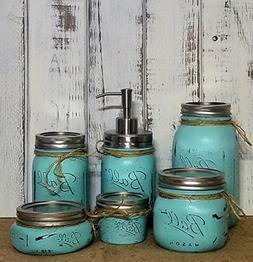 Custom 4, 5 or 6 Piece Painted Mason Jar Bathroom Set with S