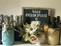 Mason Jar Soap Dispenser Bathroom Decor Hand Painted Vintage