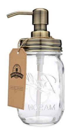 Jarmazing Products Mason Jar Soap Dispenser - Brass - with 1