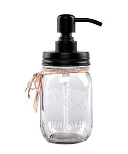 Liyoung Mason Jar Soap Dispenser,Glass Jar Lotion Dispenser,