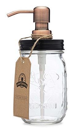 Jarmazing Products Mason Jar Soap Dispenser - Black lid with