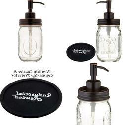 Industrial Rewind Mason Jar soap Dispenser with Non Slip Coa