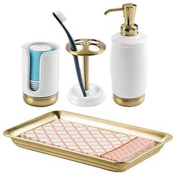 mDesign Bath Accessory Set, Soap Pump, Toothbrush Holder, Pa