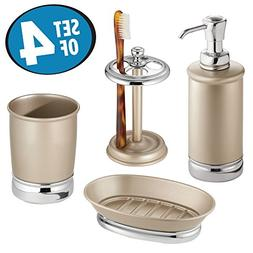 mDesign Bathroom Tumbler, Toothbrush Holder, Soap Dish and S