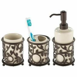 mDesign Decorative Ceramic Soap Dispenser Pump, Toothbrush H