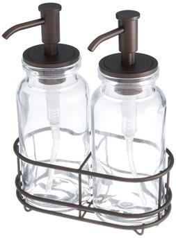 MDesign Double Soap And Lotion Dispenser Pump Caddy For Bath