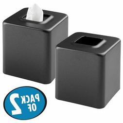 mDesign Square Paper Facial Tissue Box Cover Holder for Bath