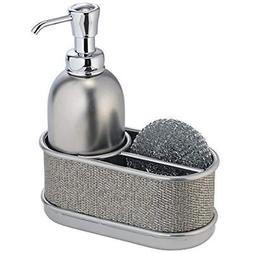 mDesign Kitchen Sink Soap Dispenser Pump and Sponge Caddy Or