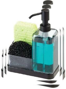 mDesign Soap Dispenser Pump with Sponge and Scrubber Organiz