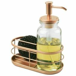 mDesign Modern Glass/Metal Kitchen Sink Countertop Liquid Ha