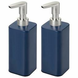 mDesign Modern Square Metal Refillable Liquid Hand Soap Disp