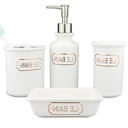 Seafulee Morden Matt White Ceramic Bathroom Accessory Set, 4