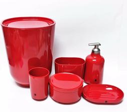 NEW UMBRA 6 PC SET RED MELAMINE SOAP DISPENSER+JAR+TUMBLER+D