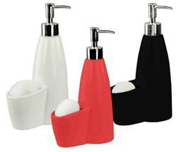 Home Basics NEW Ceramic Soap Dispenser with Sponge Holder Di