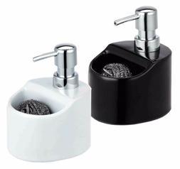 Home Basics NEW Ceramic Soap Dispenser with Sponge Holder Bl