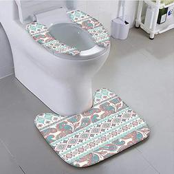 aolankaili Non-Slip Bath Toilet Mat Paisley Patterns in Nati