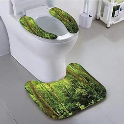 aolankaili Non Slip Bath Shower Rug Tropical Rainforest Land