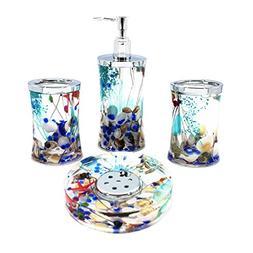 EUMAT Ocean Series Bathroom Organizer Set Acrylic 4 PCS Bath