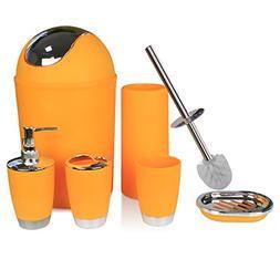 RGUSEN Orange Bathroom Accessory Set Complete, 6 Piece Plast