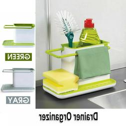 Kitchen Organizer Soap Draining Rack Towel Dispenser Sponge