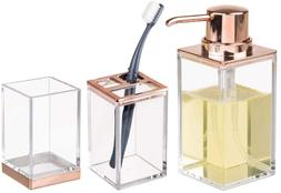 mDesign Plastic Bathroom Accessory Set, Soap Dispenser Pump,