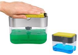 Plastic Kitchen Sink Storage Box Tray Sponge Manual Soap Dis