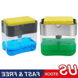 Portable Soap Pump Dispenser & Sponge Holder for Kitchen Dis