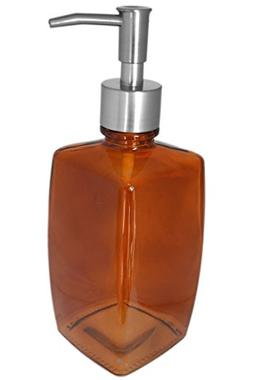 Pumpkin Orange Large Glass Kitchen Bathroom Soap Lotion Disp