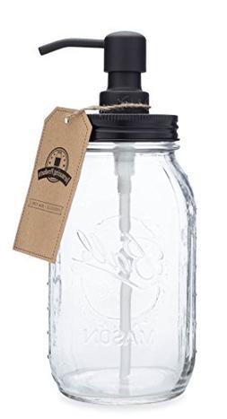 Quart Size Mason Jar Soap and Lotion Dispenser - Black - by