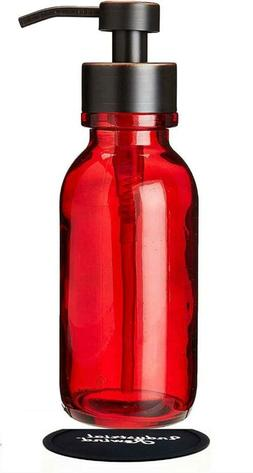 Industrial Rewind Red Wide Mouth Glass Soap Dispenser with M