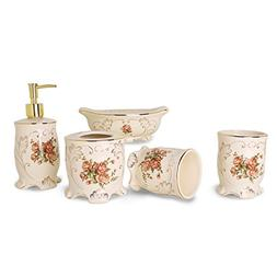 5-Piece Ceramic Red Rose Bathroom Accessories Set with Soap