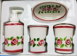 Rose Floral Bath Set Lotion Soap Pump Dispenser Cup Toothbru