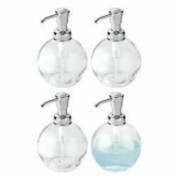 mDesign Round Glass Refillable Liquid Soap Dispenser Pump, 4