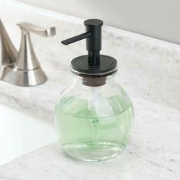 mDesign Round Glass Refillable Liquid Soap Dispenser Pump Bo
