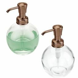 mDesign Round Glass Refillable Liquid Soap Pump, 2 Pack - Cl