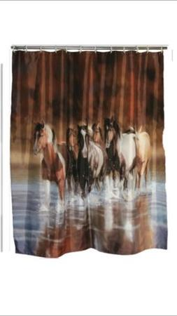 Running Horses Bathroom Decor Shower Curtain Tissue Soap Hol