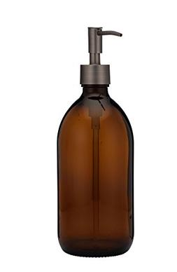 Rail19 Savon Amber Glass Soap and Lotion Dispenser with Soap
