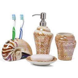 Minigift 4 Piece Sea Snail Ceramic Bathroom Accessory Set So